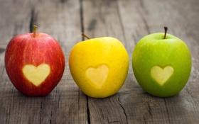 Обои фрукты, светофор, яблоки, сердечко, цвет