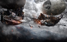 Обои битва, дирижабль, турбина, Alexander Koshelkov, арт, горы, полёт