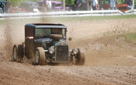 Картинка авто, ретро, обои, гонка, трасса, грязь, wallpaper