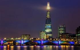 Обои ночь, мост, город, река, Англия, Лондон, здания