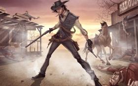 Обои конь, игра, мужик, убийство, оружия, револьвер, patrick brown