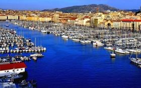 Картинка Франция, дома, яхты, лодки, порт, гавань, Марсель