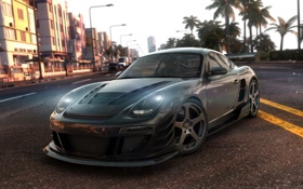 Обои город, полосы, пальмы, гонка, трасса, Porsche 911, The Crew
