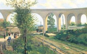 Картинка пейзаж, картина, акведук, Арман Гийомен, The Arcueil Aqueduct at Sceaux Railroad Crossing