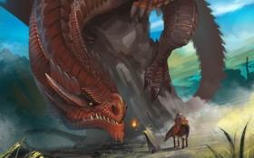 Обои огонь, лошадь, волшебник, дракон, гигантский, старик, скала