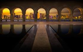 Картинка город, вечер, архитектура, Qatar, Doha, the Museum of Islamic Art