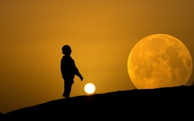 Обои небо, луна, силуэт