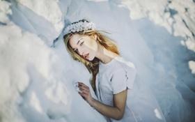 Обои зима, девушка, снег