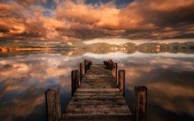Картинка sunset, cloud, lake, pier