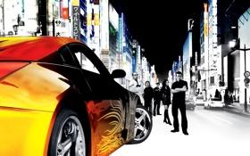 Обои машина, фильм, улица, вывески, актёры, Nissan, 350z