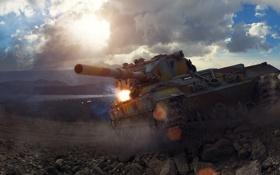 Картинка небо, солнце, тучи, арт, танк, Британия, Великобритания