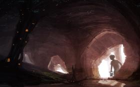 Картинка мальчик, река, пещера, ствол, дом, дерево, огни