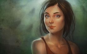 Обои взгляд, арт, шатенка, голубоглазая, локоны, нарисованная девушка