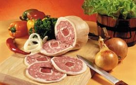Обои лук, укроп, мясо, овощи, колбаса, Meat, болгарский перец