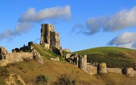 Картинка небо, облака, развалины, руины, Corfe Castle, замок Корф