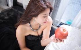 Картинка девушка, яблоко, азиатка