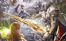 Обои огонь, девушки, fire, жезл, эльфы, меч, sword