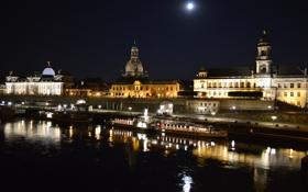 Картинка река, ночные огни, лодка, дома, Brühlsche Terrasse - Dresden