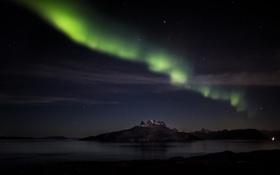 Картинка небо, звезды, горы, ночь, озеро, северное сияние, природное явление
