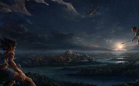 Картинка полет, ночь, оружие, девушки, луна, арт, храм