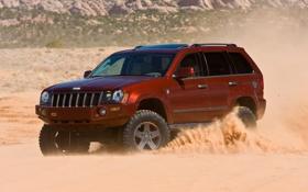 Обои дорога, песок, небо, пустыня, jeep, отличные обои