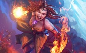 Обои огонь, ярость, Slayer, Dota 2, Lina