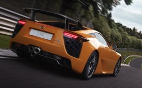 Обои скорость, lexus, суперкар, лексус, гоночный трек, ораньжевый, package