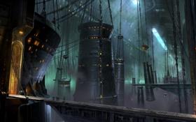Обои мост, сооружение, ангар, солдаты, гигантское, Destiny, ConceptArt