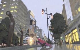 Картинка девушка, машины, город, огни, люди, дождь, дома