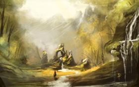 Картинка лес, река, скалы, лошадь, человек, водопад, арт