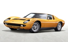 Обои желтый, фон, Lamborghini, 1969, суперкар, классика, передок