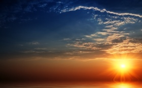 Обои солнце, океан, пейзажи, вода, закат солнца, море