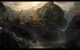 Обои замок, джунгли, деревья, водопад, восток, горы