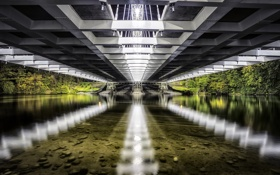 Обои reflection, strandherd, Vimy Memorial Bridge