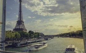 Обои река, эйфелева башня, париж, франция, paris