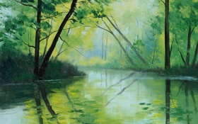 Обои рисунок, арт, artsaus, forest green