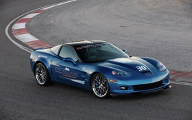 Обои синий, суперкар, corvette, шевроле, трек, zr1, chevrolet