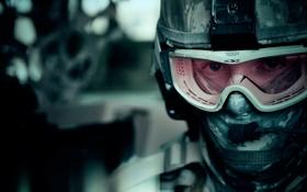 Обои маска, очки, солдат, шлем, микрофон