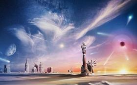 Обои зима, снег, апокалипсис, пустошь, New York, Statue of Liberty