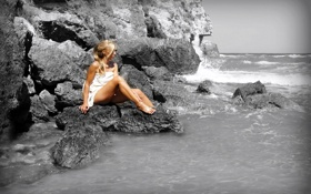 Картинка море, девушка, скалы