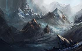 Обои снег, горы, человек, водопад, деревня, k04sk
