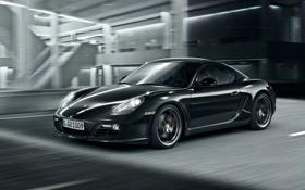 Картинка авто, чёрный, скорость, порше, кайман