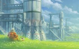 Обои трава, горы, бабочка, планета, космонавт, скафандр, ракеты
