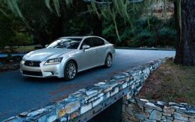 Картинка дорога, лес, мост, камни, Lexus, седан, лексус