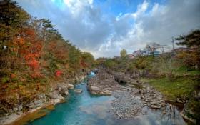 Картинка осень, небо, деревья, мост, река, камни, скалы