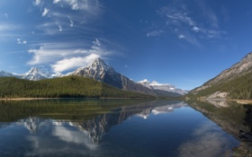 Картинка лес, небо, вода, горы, тучи, природа, озеро