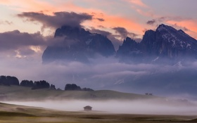 Картинка Italy, Dolomites, Morning Light at Alpe di Siussi
