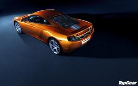 Обои McLaren, Top Gear, суперкар, полумрак, вид сзади, MP4-12C, самая лучшая телепередача