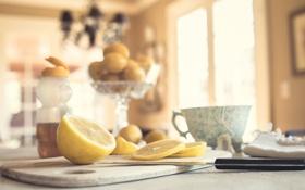Обои стол, лимон, нож, ломтики, нарезка