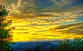 Обои облака, горы, hdr, небо, деревья